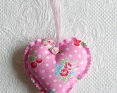 Shabby Chic Floral Pink Rose Cherry Heart Ornament Fabric Hearts polka dots europeanstreetteam