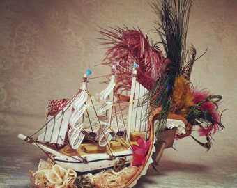 Pirate hat Tricorn Steampunk Pirate Rococopunk  Marie Antoinette Cosplay Gothic Lolita Fascinator Gothic Pirates of the Carribean Victorian