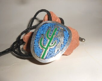 Turquoise Saguaro Bolo Tie With Woodpecker Vintage Sterling Silver Inlaid Tribal Slide With Leather Cord Chic Western Wear