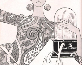 1966 Wall Street Fashion Set (4 ads 3 pages) Line Drawings Illustrator June Grammar Hayden Stone Securities Co Business Office Fashion Decor