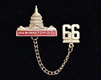 Vintage 1966 Washington D.C. Souvenir Double Pin with Chain