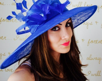 "Royal Blue Sun Hat - ""Alexandria"" Royal Blue Fascinator Sun Hat w/ mesh flowers and feathers"