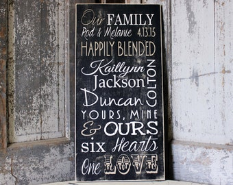 Blended Family Important Date Sign, Engagement Gift, Family Name Sign, Wedding Date, Established Date, Anniversary Gift, Custom Family Sign