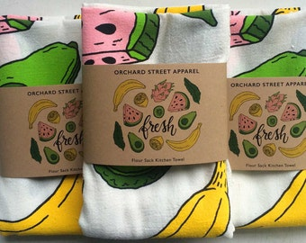 Fresh Fruit flour sack towel. Tropical fruit tea towel made in the USA with eco-friendly inks.