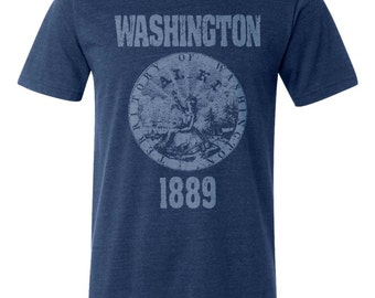 Washington State Seal T-Shirt. Vintage Style State of Washington Unisex Men's Slim Fit and Women's Tee