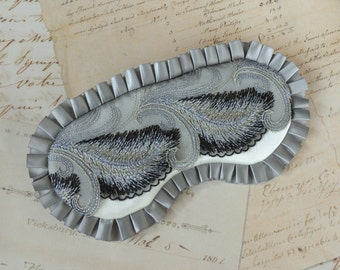 Deco Feather Sleep Mask in Gray, White, Navy // 1920s, Gatsby, Luxury Eye Mask