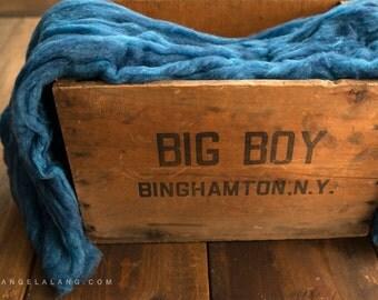 Wool Fluff Basket Stuffer, Newborn Photography Prop, Fill, Blue, Baby Boy, Indigo Bunting, Cobalt, Textured Wool Batting, Natural, Fleece