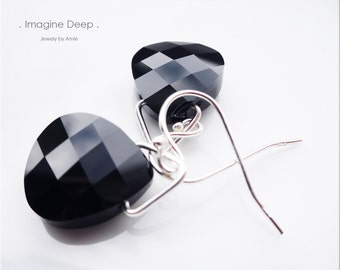 Sterling Silver Black Crystal Earrings Onyx Obsidian like Swarovski Crystals Briolette Teardrop Pear Dangle Earrings % SPECIAL