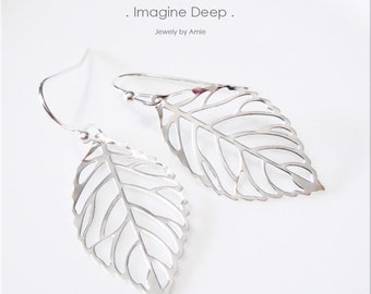 50%off SPECIAL Silver Leaf Earrings Silver Plated Filigree Leaf Dangle Earrings Bridesmaids Birthday Gift Modern Beautiful