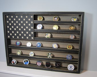 """18"""" x 24"""" 75 Coin HUGE Military Challenge Coin Display Case Holder U.S. Flag Retirement Gift Army Navy Air Force Marines Coast Guard USA"""