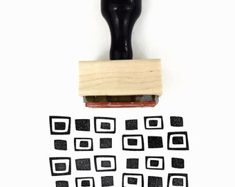 Rubber Stamp Retro Squares Pattern - Hand Drawn Geometric Pattern Stamp