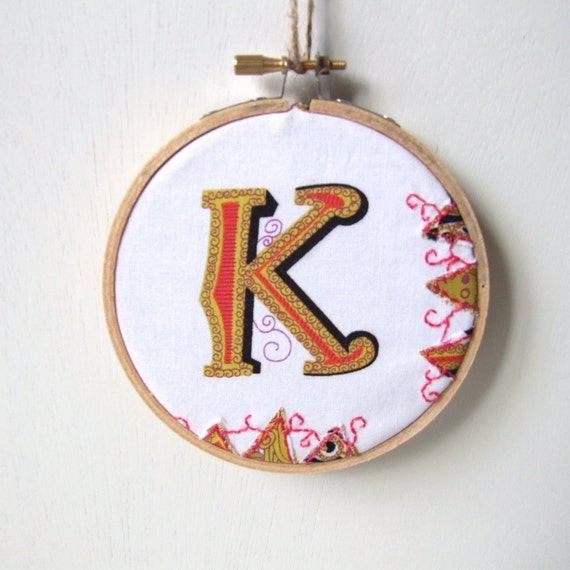 letter K embroidery hoop