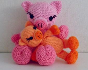 Pig Crochet Pattern Amigurumi PDF - Piggy and Pig amigurumi Toy crochet pattern - Instant DOWNLOAD