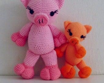 Crochet Amigurumi Pig Pattern PDF - Piggy and Pig amigurumi Toy crochet pattern - Instant DOWNLOAD
