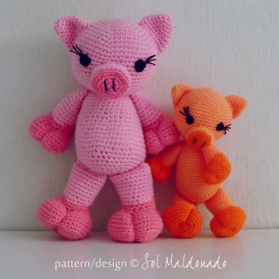 Free Princess Amigurumi Crochet Pattern : Crochet Amigurumi Pig Pattern PDF Piggy and Pig amigurumi