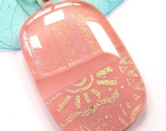 Pink glass pendant ~ Dichroic pendant necklace, glass jewelry, Handmade jewellery, Birthday Presents for women girl friend Anniversary gift