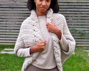 Crochet Pattern cable women shrug  bulky cardigan, plus size cardigan,  DIY tutorial, Instant download