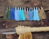 """The Blues Art Silk Tassels from India, 2"""" Jewelry Making Tassels, Craft Supplies, Summer Blues, Navy, Aqua, Grey Boho Fringe, 16 Tassels"""