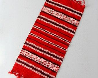1950s southwestern table mat, vintage red woven table runner