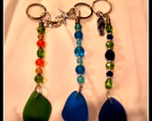 Beach Glass Keychain with Beads & Charm