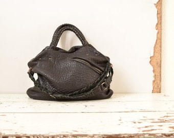 Slouchy Top Handled Leather Purse with Straps and Front Pocket.  Urban Rock Chick Boho.  Available in Black and other colours. Made to Order