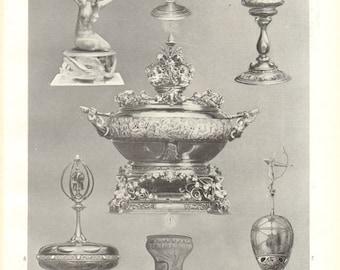 1910 Modern Goldsmith Works, Gold Artistry Vintage Print