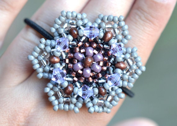 Grey Brown Lilac  Beaded Flower Ponytail Holder, Boho Hair Accessories, Bead Hair Ties, Chic Beaded Hair Band, Fashion Accessory