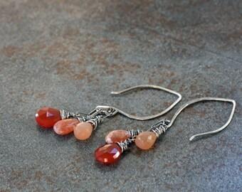 Sunstone and carnelian gem cluster earrings