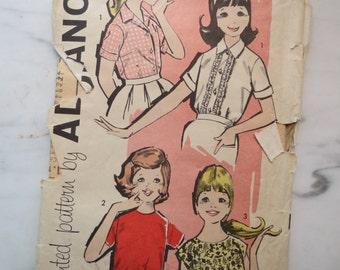 Vintage Sewing Pattern Advance 9612 1950s Girl's Blouse Shirt Size 14.5