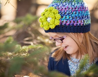 Blue Hat - Crochet Hat with Flower - Girl's Hat - Girl's Winter Hat - Hand Crocheted Items