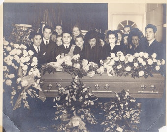 Mourners in Black- 1940s Vintage Photograph- Japanese Funeral- White Chrysanthemums- Coffin Photo- Mourning Clothes- Paper Ephemera- 8 x 10