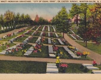 Salem Moravian Graveyard- 1930s Vintage Postcard- City of Equal Dead- Easter Sunday- Winston-Salem, NC- Cemetery- Paper Ephemera