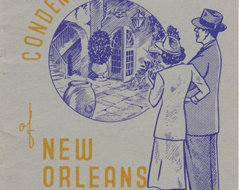 Souvenir Condensed History of New Orleans- 1940s Vintage Gray Lines Booklet- Old Travel Guide Book- 40s Decor- Paper Ephemera
