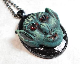 Goblin Pendant, Goblin Necklace, Hand Sculpted, Hand Painted, Polymer Clay, Fantasy Gamer, Creature Monster, Black Green Gunmetal, Teen
