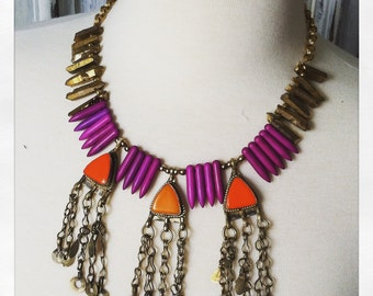Handmade Ooak Tribal Inspired Necklace Spike Fringe Bib Statement Purple Gold Orange Pyrite Howlite Hippie Boho Priestess