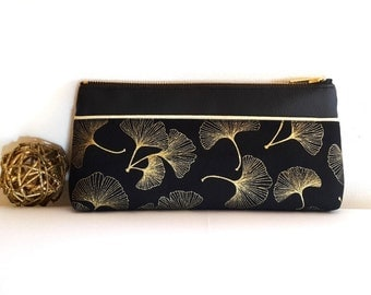 Ginkgo gold and black waterproof cosmetic pouch make up pouch Pencil case Bridesmaid pouch