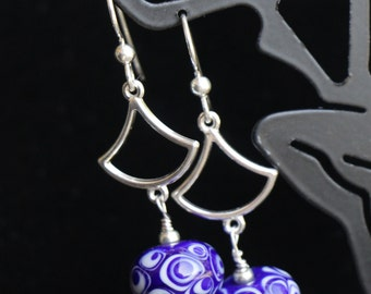 Beautiful Cobalt and White Lampworking Sterling Silver Earrings