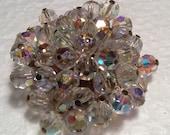 Vintage Swarovski Crystal AB Gold Brooch