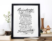 Raindrops on Roses, Typography screen print, The Sound of Music, Chatty Nora, Nursery decor, wall print, quote print, Whiskers on Kittens