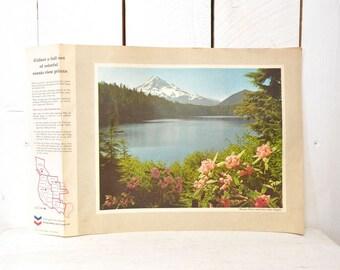 Landscape Souvenir Prints, Retro 1970s Vintage, Chevron Trail Gas Station, Promotional Tourist Photos, Mt Hood Oregon, More Locations