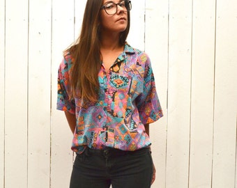 Southwest Button Up 80s Vintage Neon Abstract Print Slouchy Short Sleeve Shirt