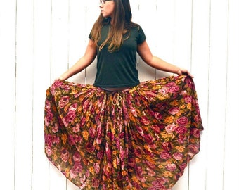 Vintage Maxi Skirt Rose Floral Print Early 90s Sheer Pink Green Hippie Boho Gypsy Skirt One Size