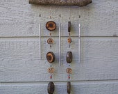 Wind Chime Mobile,  Unique Wood Round Wind Chime, Black Walnut Rounds With Walnut Slices