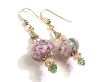 Pink & Green Floral Lampwork Earrings With Pink and Green Swarovski Crystals, Pink Earrings, Green Earrings, Lampwork Jewelry