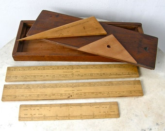 SET of ANTIQUE RULERS in Original Mahogany Box 3 Rulers 2 Protractors or Triangles Engineering Drsafting Reeves London England Dated 1878