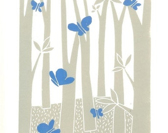 Blue Butterfly - Pastel Colour Linocut Print , Girl Gift - Lino Print - Woodland  Art, Original Lino Block Hand Pulled - Signed