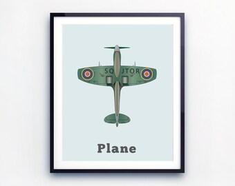 Plane Print, toddler room decor. Airplane illustration, aviation decor. Big boys rooms, gifts for boys.
