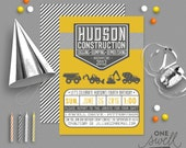 Construction Invitation Construction Party, Boy Birthday, Construction Theme, Digger Invitation, Dump Truck Invitation, Printable Invitation
