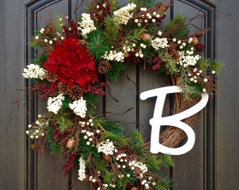 Christmas Wreath Winter Wreath Holiday Door Decor Pine Red Berry Branches Red Hydrangea Floral Door Decoration Monogrammed Decor