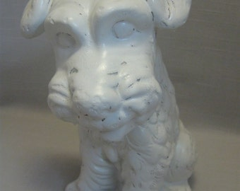 """White Scottie Figurine Statue Sitting Dog Chalk Ware 8"""" Tall 1980"""